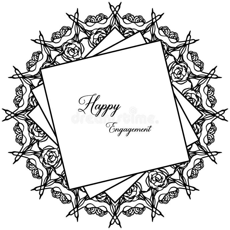 Carta dell'invito con l'iscrizione dell'impegno con lettere felice, struttura floreale d'annata Vettore illustrazione vettoriale
