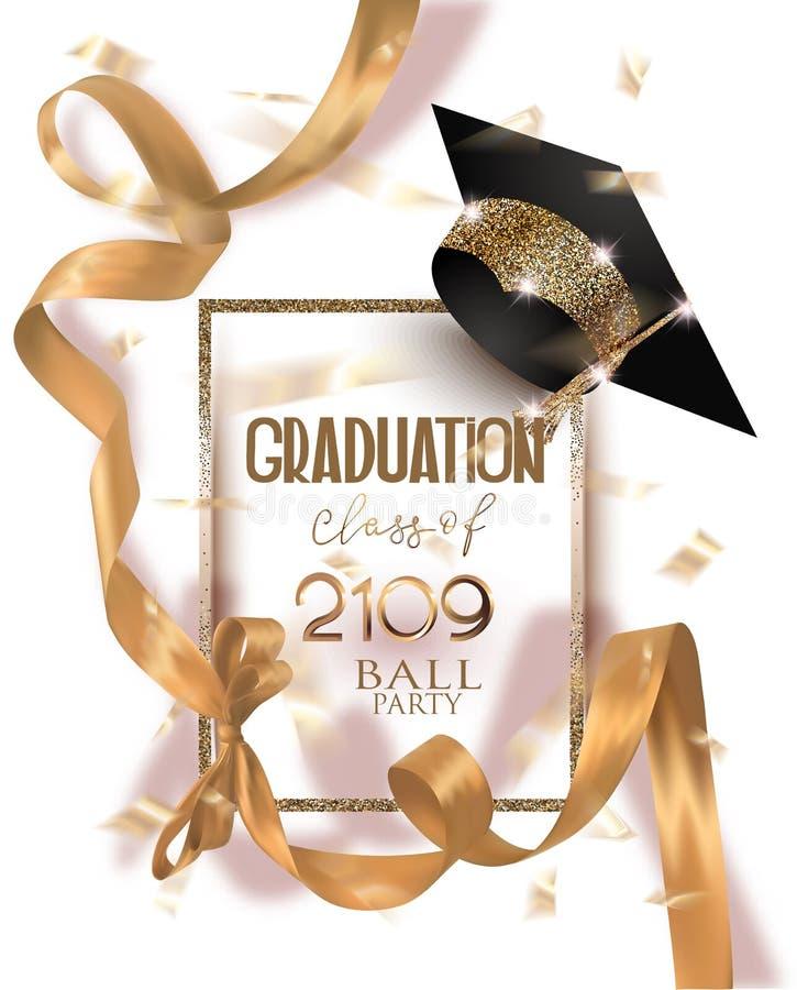 Carta dell'invito del partito di graduazione 2019 con il cappello ed il nastro di seta ed i coriandoli dell'oro lungo illustrazione vettoriale