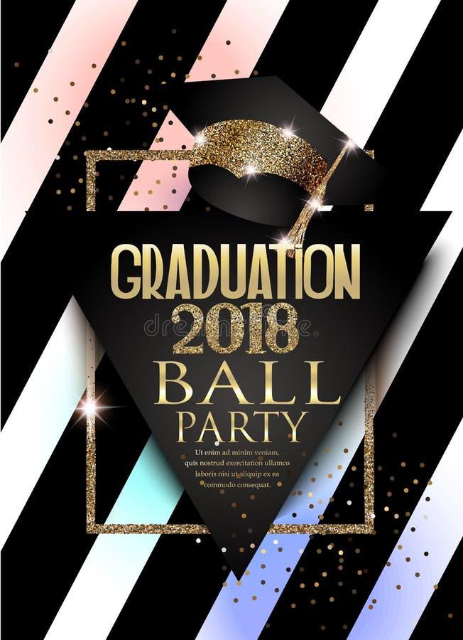 Carta dell'invito del partito di graduazione 2018 con il cappello, la struttura dorata ed il fondo a strisce royalty illustrazione gratis