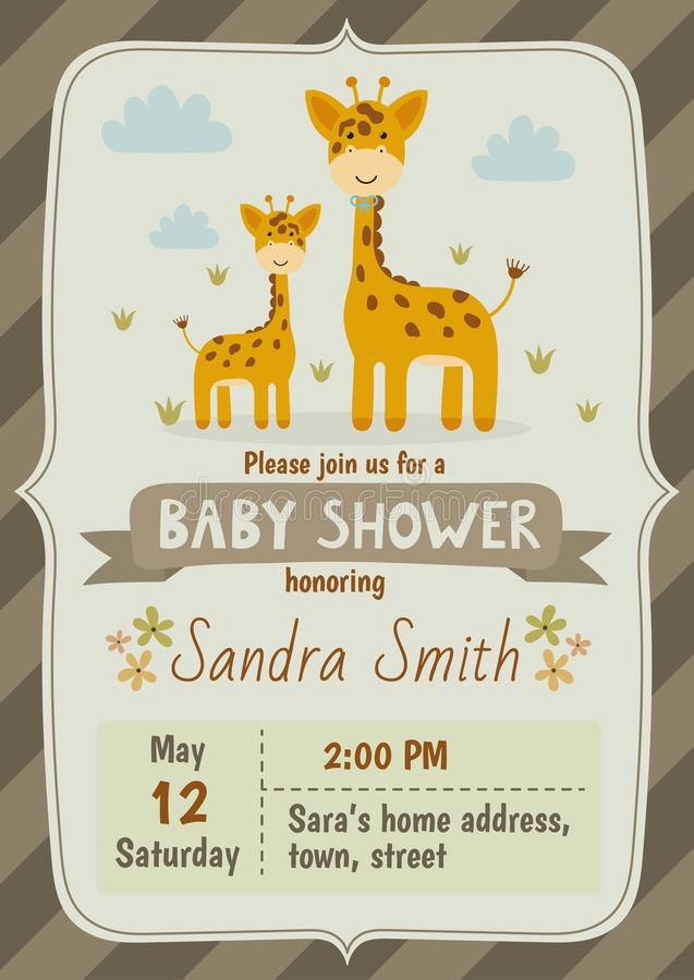 Carta dell'invito della doccia di bambino con le giraffe sveglie royalty illustrazione gratis