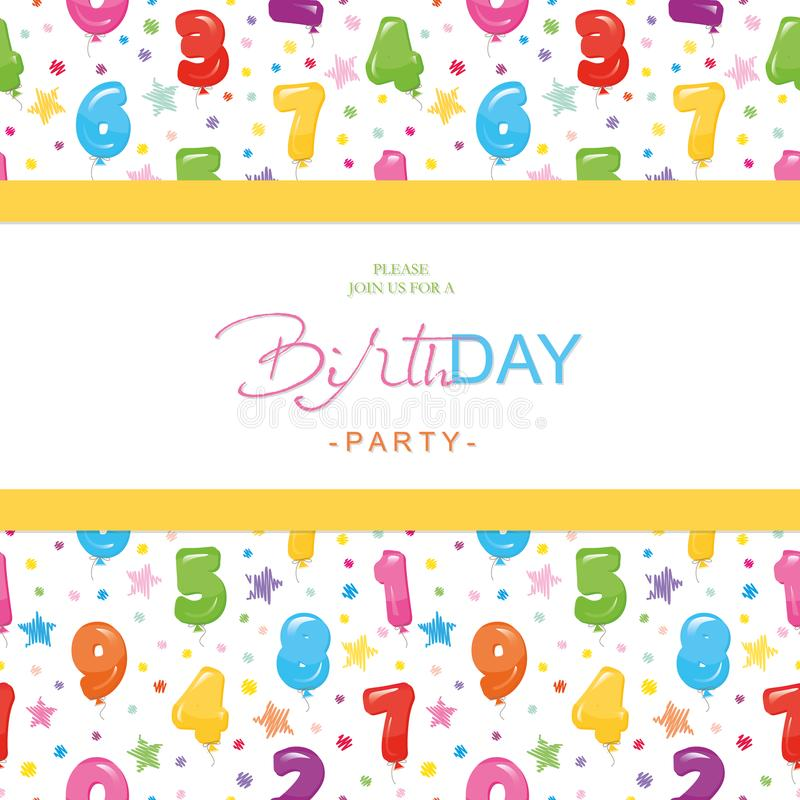 Carta dell'invito della festa di compleanno per i bambini Il modello senza cuciture incluso con il pallone variopinto lucido nume royalty illustrazione gratis