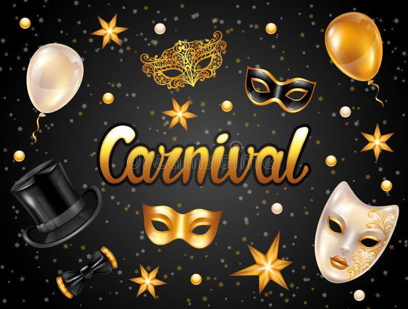 Carta dell'invito di carnevale con le maschere e le decorazioni dell'oro Fondo del partito di celebrazione illustrazione di stock