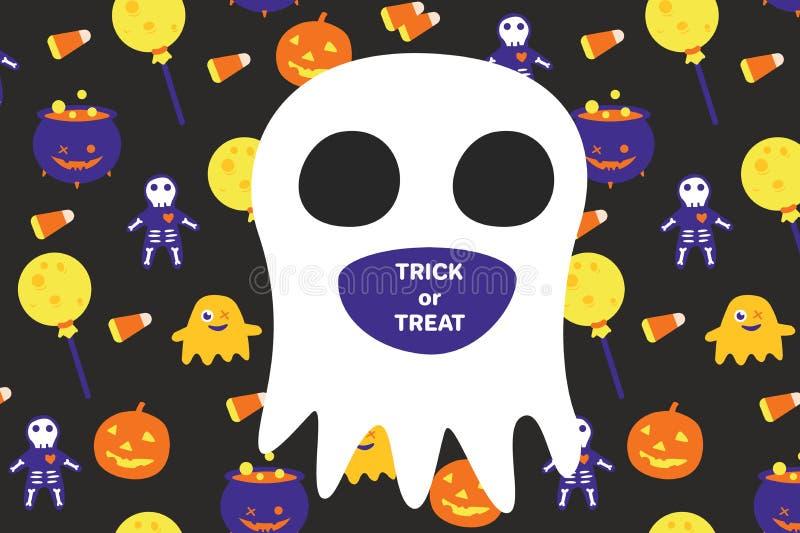 Carta dell'invito di Halloween con il grandi fantasma e testo fotografia stock