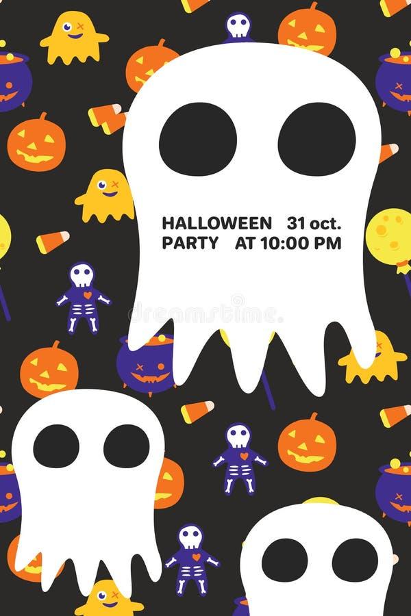 Carta dell'invito di Halloween con il grandi fantasma e testo immagine stock libera da diritti