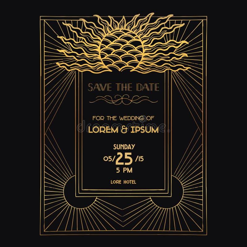 Carta dell'invito di nozze - Art Deco illustrazione vettoriale