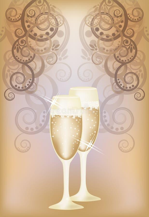 Download Carta Dell'invito Di Nozze Con Champagne Illustrazione Vettoriale - Illustrazione di scheda, modo: 30827967