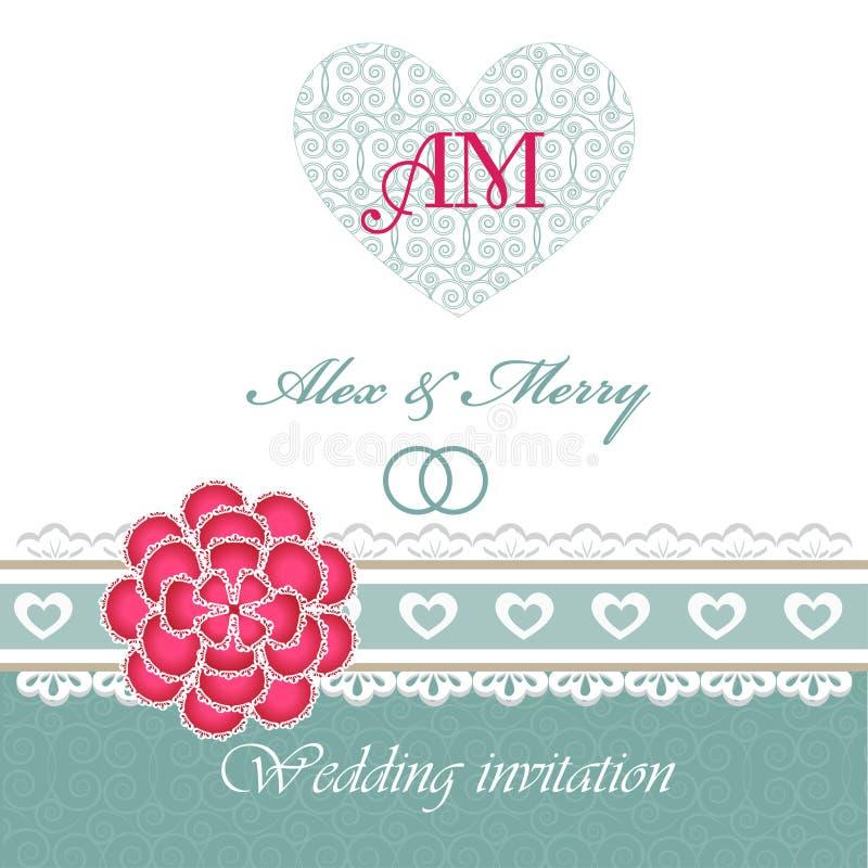 Carta dell'invito di nozze con gli elementi floreali. illustrazione vettoriale