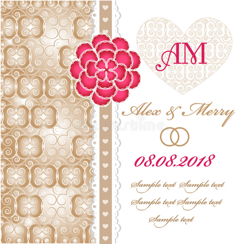 Carta dell'invito di nozze con gli elementi floreali. royalty illustrazione gratis