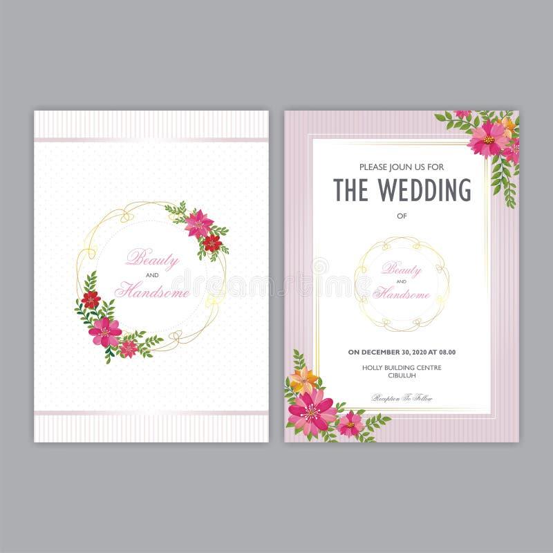 Carta dell'invito di nozze con gli ornamenti floreali illustrazione vettoriale