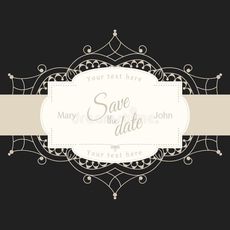 Carta dell'invito di nozze con il motivo bianco del pizzo su fondo nero, illustrazione royalty illustrazione gratis