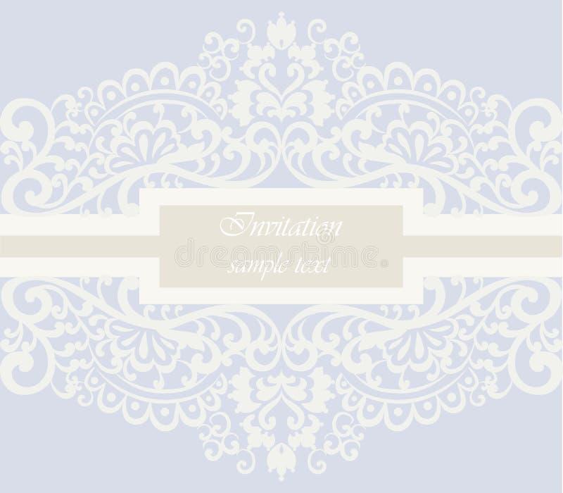 Carta dell'invito di nozze con l'ornamento del pizzo illustrazione di stock