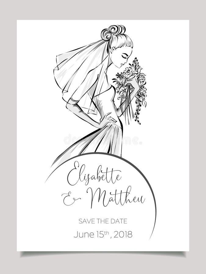 Carta dell'invito di nozze con la bella sposa Illistration in bianco e nero di vettore del modello della partecipazione di nozze  fotografia stock