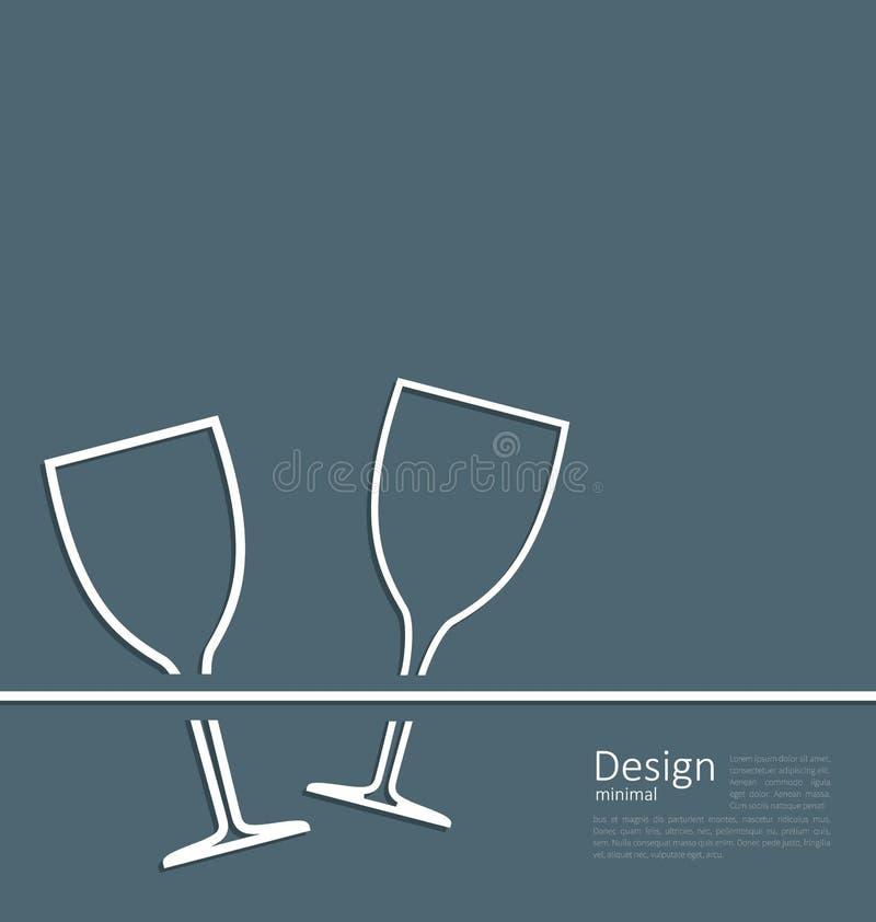 Carta dell'invito di nozze del bicchiere di vino dell'illustrazione due illustrazione vettoriale