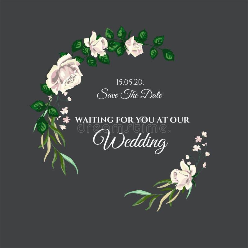 Carta dell'invito di nozze delle rose di vettore per progettazione 01 immagine stock