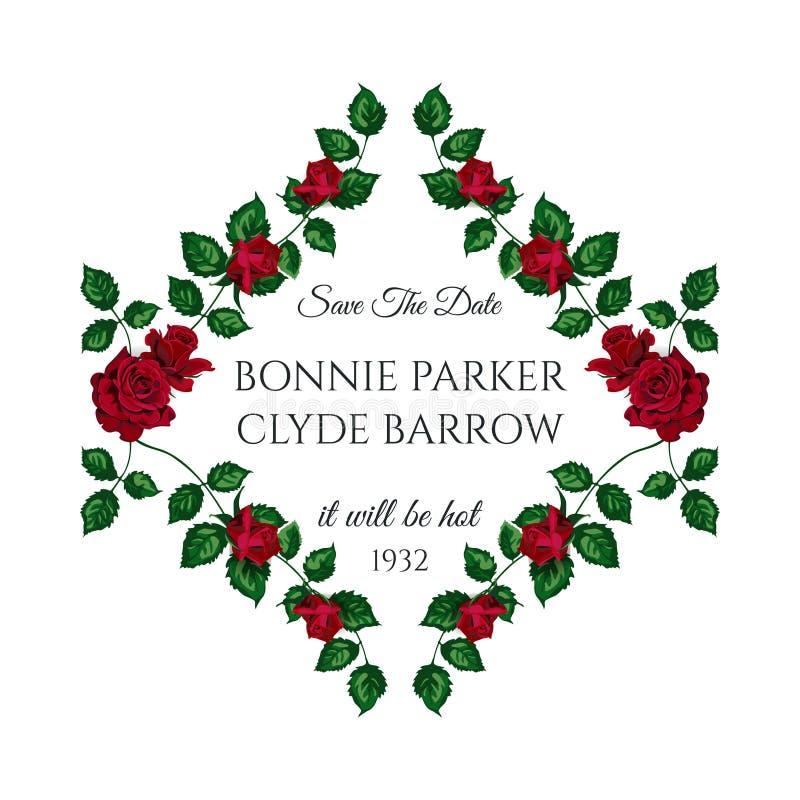 Carta dell'invito di nozze delle rose di vettore per progettazione 01 fotografia stock libera da diritti