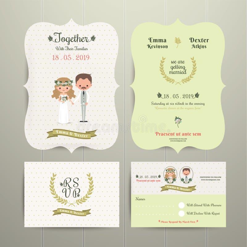 Carta dell'invito di nozze di Cartoon Romantic Farm dello sposo & della sposa e RSVP illustrazione di stock