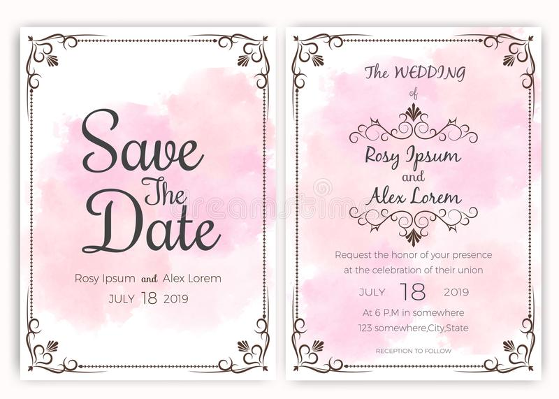 Carta dell'invito di nozze, carta di etichette del regalo immagini stock libere da diritti