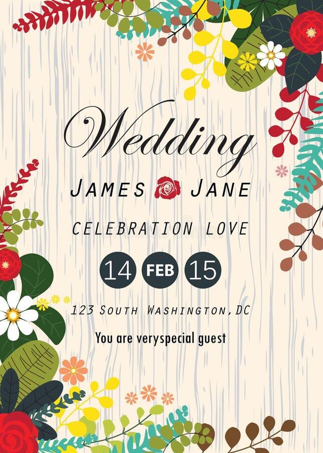 Carta dell'invito di nozze, fondo di disposizioni royalty illustrazione gratis