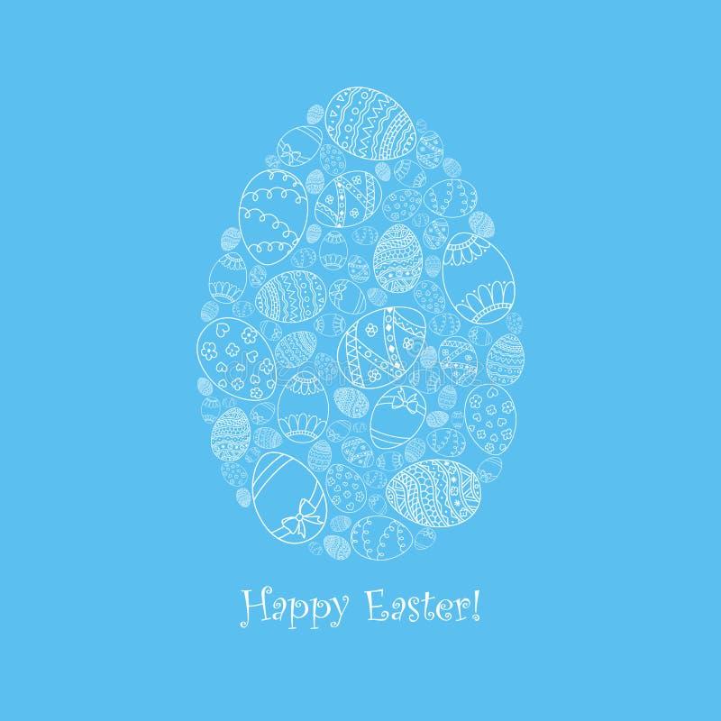 Carta dell'invito di pasqua di vettore di forma dell'uovo dalle uova di Pasqua bianche di scarabocchio con l'iscrizione felice de illustrazione di stock