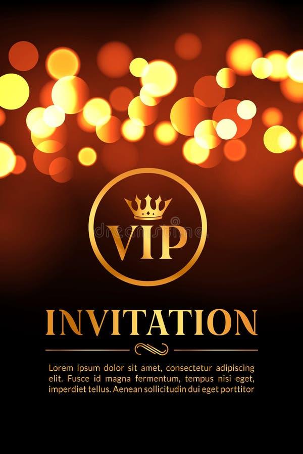 Carta dell'invito di VIP con il fondo d'ardore del bokeh e dell'oro Progettazione elegante di lusso premio royalty illustrazione gratis