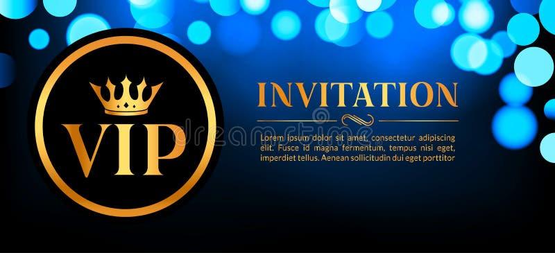 Carta dell'invito di VIP con il fondo d'ardore del bokeh e dell'oro Progettazione elegante di lusso premio illustrazione vettoriale