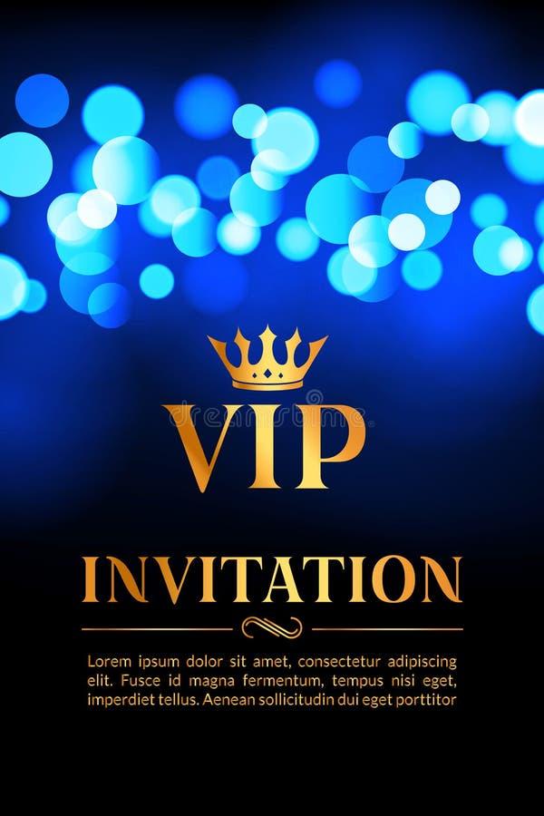 Carta dell'invito di VIP con il fondo d'ardore del bokeh e dell'oro Progettazione elegante di lusso premio illustrazione di stock