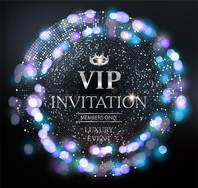 Carta dell'invito di VIP con il fondo scintillante dell'argento e le luci defocused illustrazione di stock