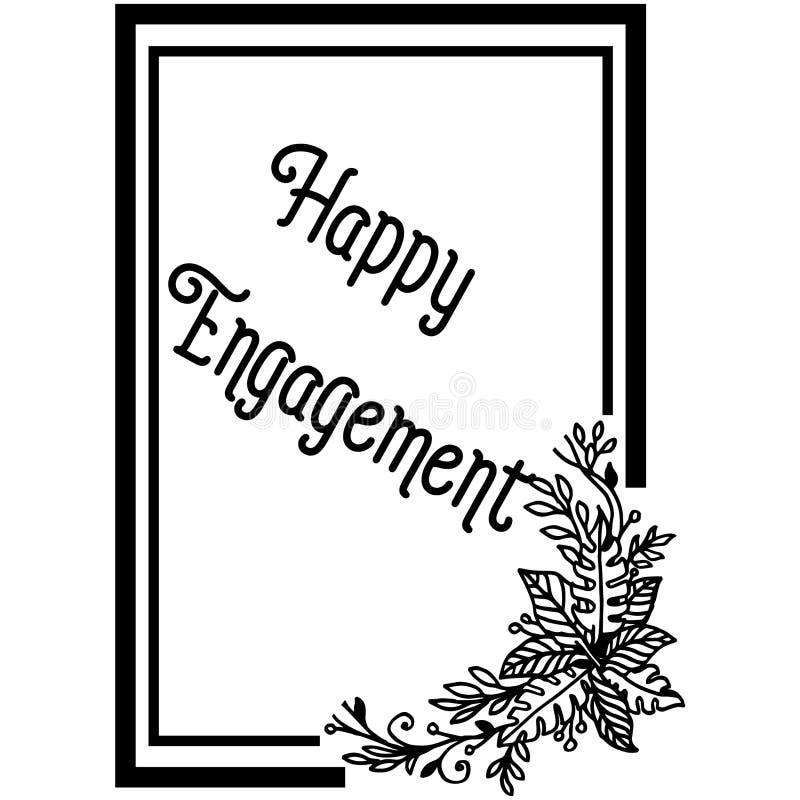 Carta dell'invito dell'illustrazione di vettore dell'impegno felice con decorato del telaio del fiore illustrazione di stock