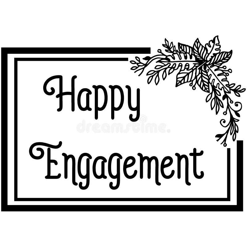 Carta dell'invito dell'illustrazione di vettore dell'impegno felice con decorato del telaio del fiore illustrazione vettoriale