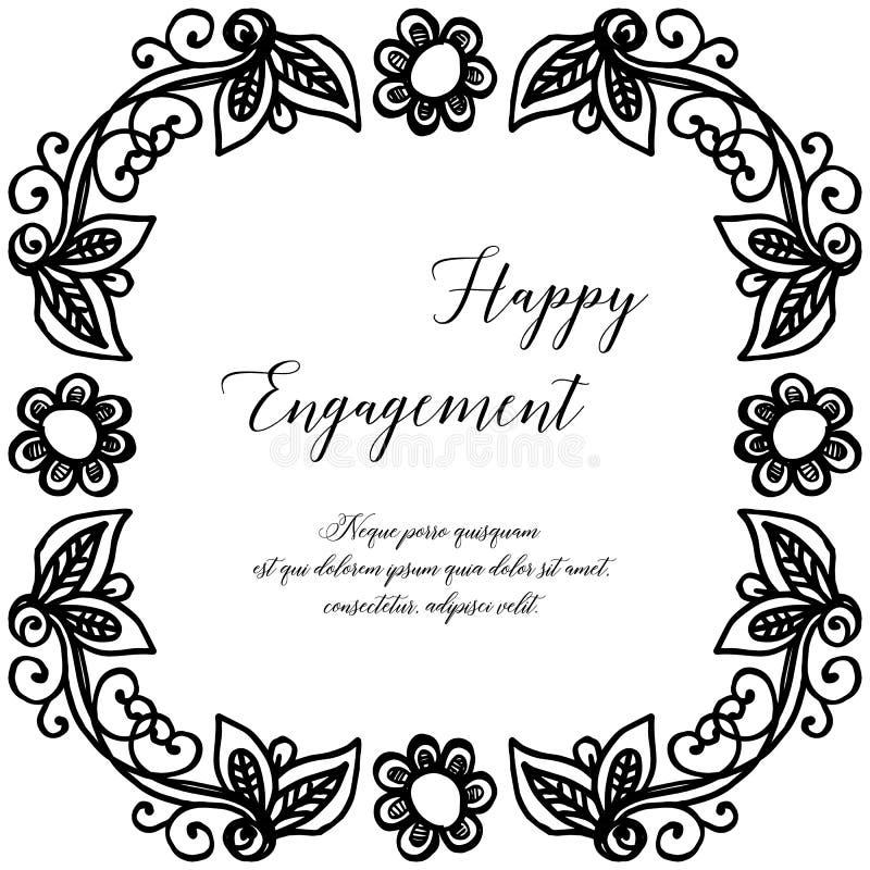 Carta dell'ornamento di progettazione, iscrizione dell'impegno felice, bella struttura del fiore della carta da parati Vettore illustrazione vettoriale