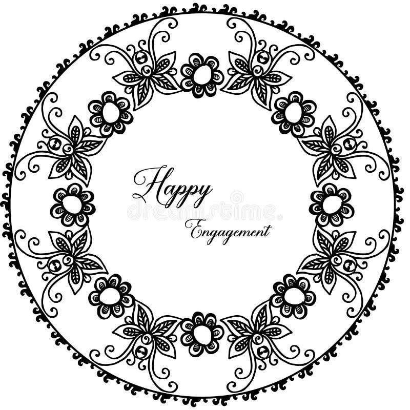 Carta dell'ornamento di progettazione, iscrizione dell'impegno felice, bella struttura del fiore della carta da parati Vettore royalty illustrazione gratis