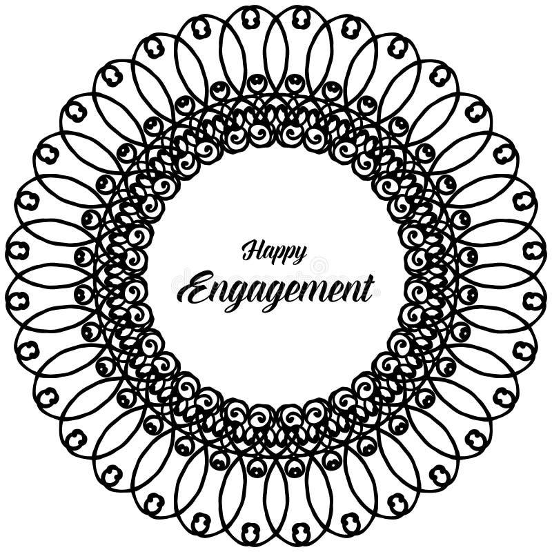 Carta dell'ornamento di progettazione, iscrizione dell'impegno felice, bella struttura del fiore della carta da parati Vettore illustrazione di stock
