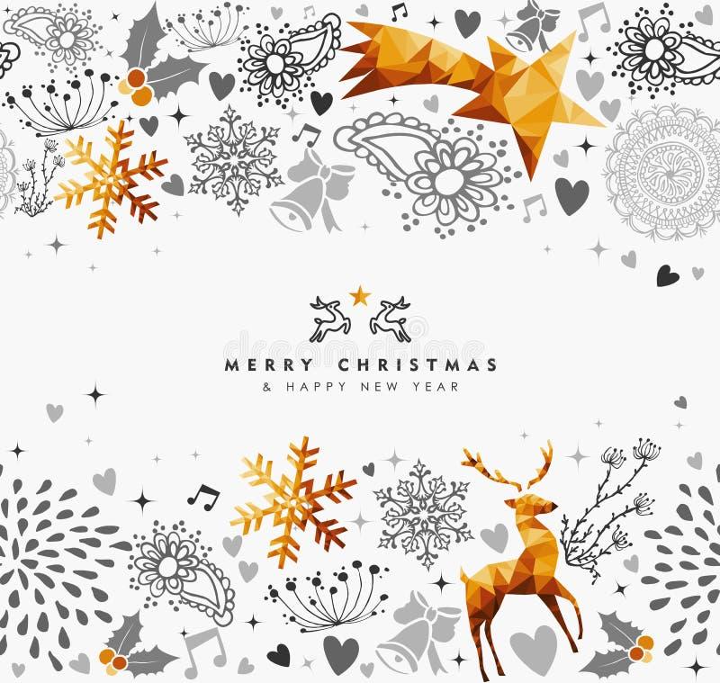 Carta della decorazione dell'oro del nuovo anno e di Natale royalty illustrazione gratis