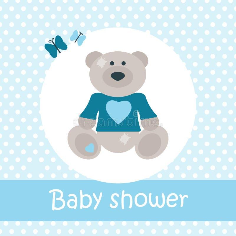 Carta della doccia di bambino con l'orso royalty illustrazione gratis