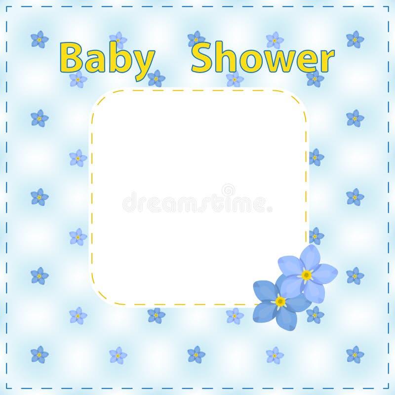 Carta della doccia di bambino, ragazzo, ragazza Carta di arrivo con il posto per il vostro testo illustrazione di stock