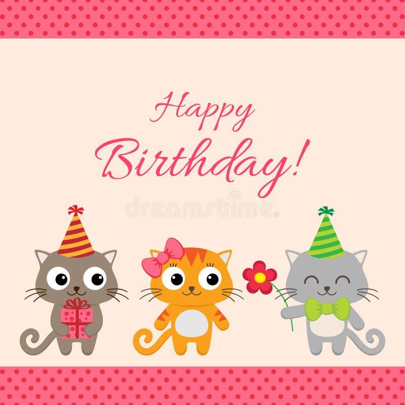 Carta della festa di compleanno con i gatti royalty illustrazione gratis