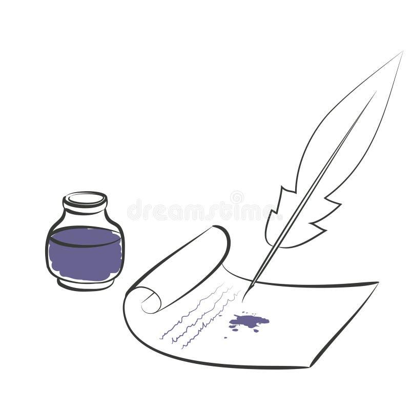 Carta della penna del calamaio royalty illustrazione gratis