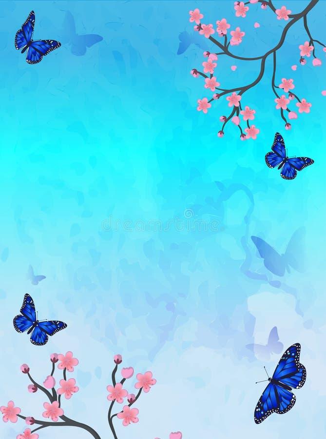 Carta della primavera con sakura e la farfalla, vettore royalty illustrazione gratis