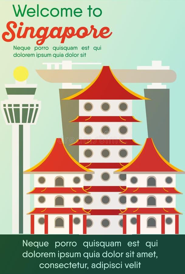 Carta delle destinazioni di viaggio Viaggio a Singapore illustrazione vettoriale