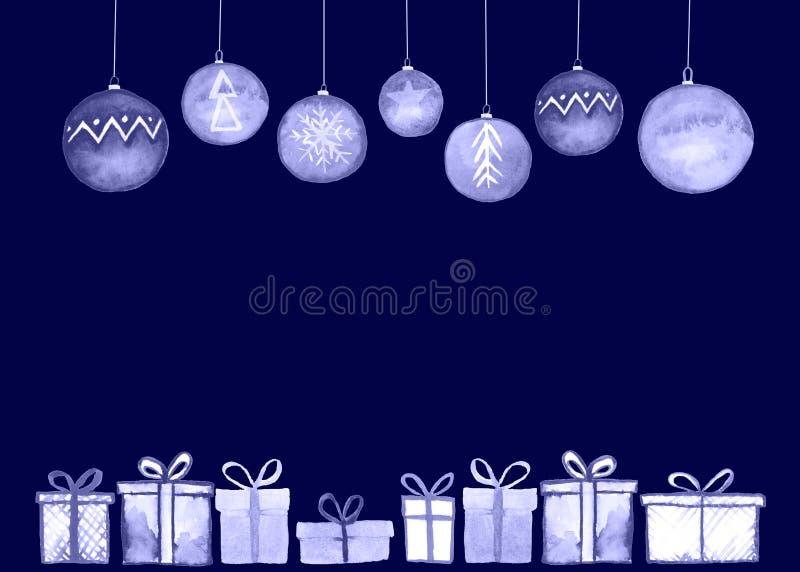 Carta delle palle dei regali di Natale illustrazione vettoriale