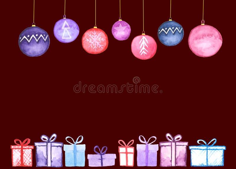Carta delle palle dei regali di Natale illustrazione di stock