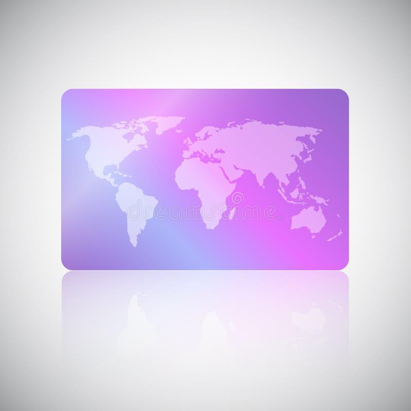Carta di agenzia commerciale di viaggio Carta di regalo, sconto o carta di credito con la mappa di mondo su fondo al neon olograf illustrazione di stock