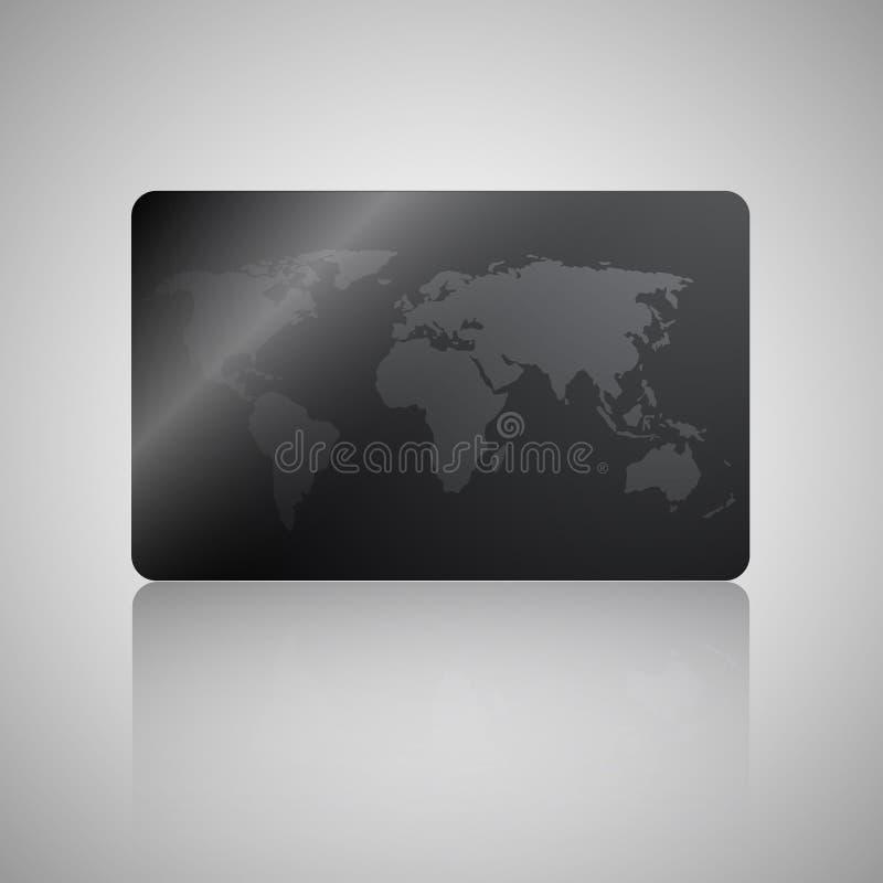 Carta di agenzia commerciale di viaggio Carta di regalo, sconto o carta di credito con la mappa di mondo su fondo nero illustrazione di stock
