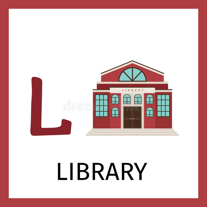 Carta di alfabeto con locali della biblioteca illustrazione vettoriale