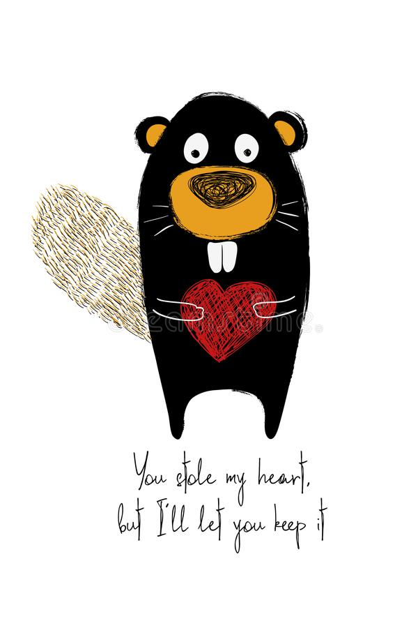 Carta di amore con il castoro sveglio royalty illustrazione gratis