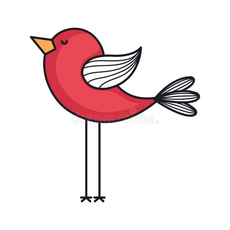 carta di amore con l'uccello sveglio illustrazione di stock