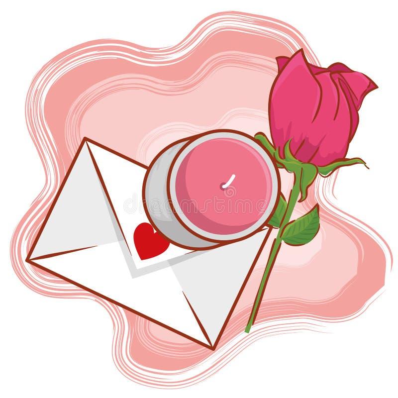 Carta di amore con la candela e pianta rosa al giorno di biglietti di S. Valentino illustrazione di stock