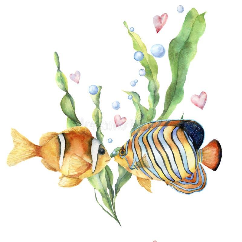 Carta di amore dell'acquerello con i pesci tropicali Foglie e ramo dipinto a mano di laminaria, due pesci, bolle di aria e cuori illustrazione di stock