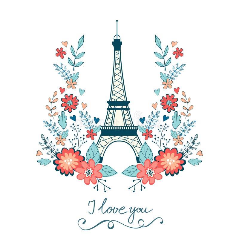 Carta di amore di concetto con la torre Eiffel e floreale illustrazione di stock
