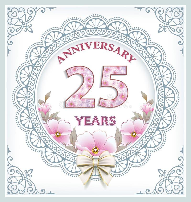 Carta di anniversario 25 anni illustrazione di stock